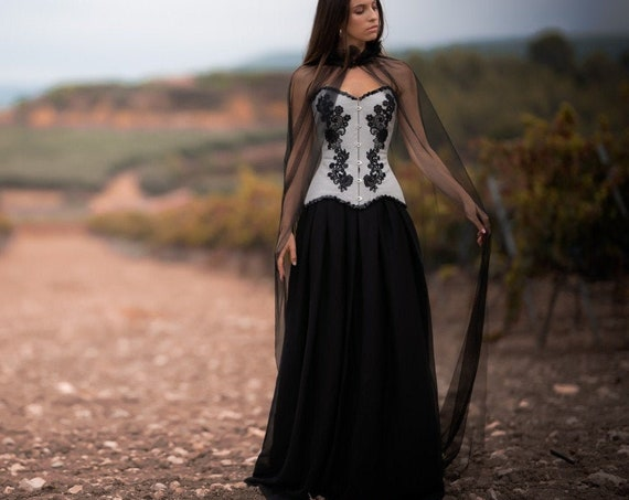 Gothic Wedding Skirt, Medieval Dress, Black Wedding Skirt, Dark Princess Dress, Black Chiffon Skirt, Women Long Skirt, Black Wedding Dress