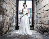 Bohemian wedding dress - Ivory silk chiffon beach wedding dress - Vintage style wedding dress - Romantic modern bride