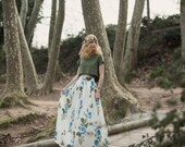 Floral wedding skirt, Bohemian wedding skirt, Floral silk skirt, Boho chic skirt, Hippy wedding, Alternative wedding, Satin bambula skirt