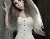 Ivory corset, Satin overbust corset, Steampunk wedding, Ivory silk satin wedding corset, Silk corset, Alternative wedding, Gothic wedding