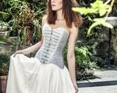 Wedding corset, Boho wedding light blue cotton satin corset, Vintage wedding overbust corset, Boho chic bride, Modern bridal dress, Princess