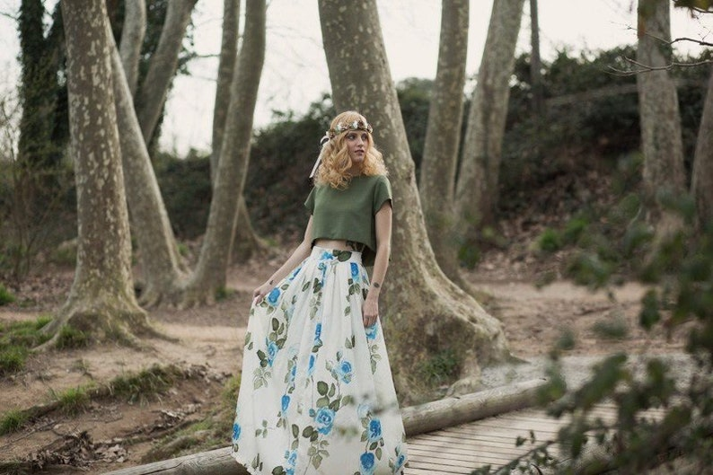 Boho chic bridal skirt for floral wedding dress Bohemian long image 0