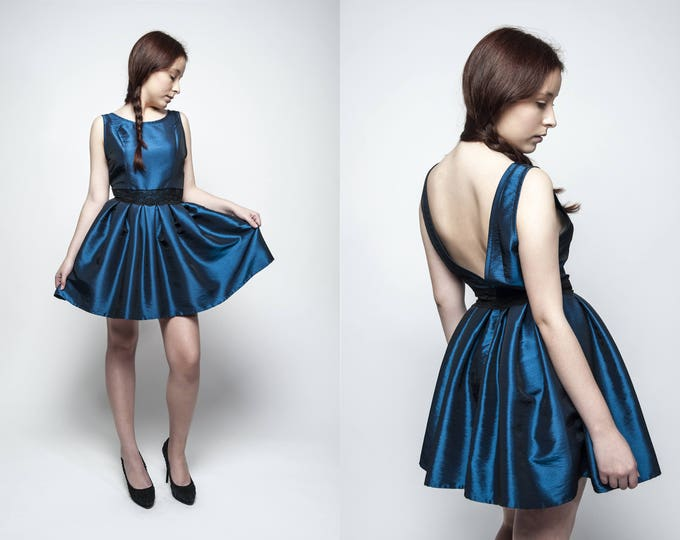 Royal blue gothic prom dress for Christmas dinner, Ready to ship short party dress, Midnight blue taffeta cocktail dress backless formal