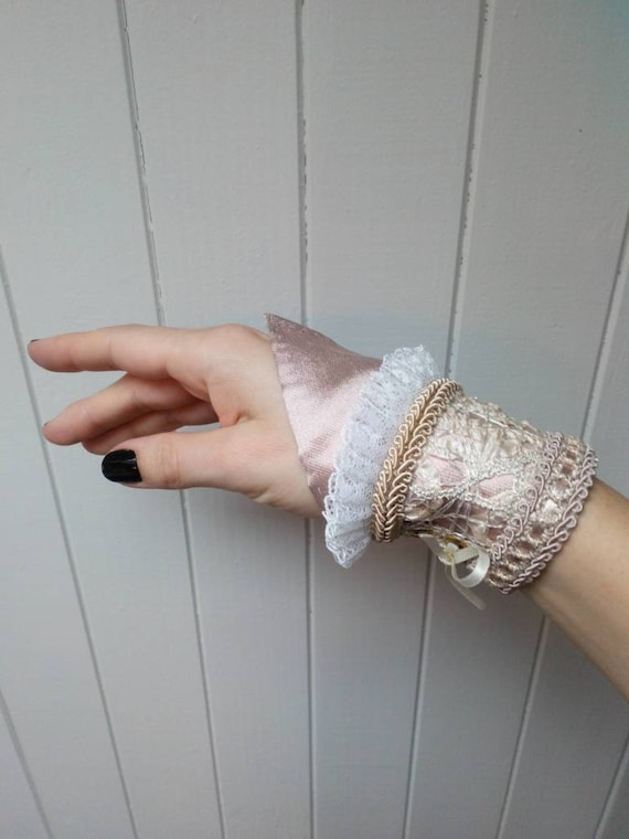 Fairy Cuff Wrist, Boho Cuff Bracelet, Victorian Wrist Cuff, Pink Pixie Jewelry, Fantasy Cuff Bracelet, Wedding Accessories, Wedding Props