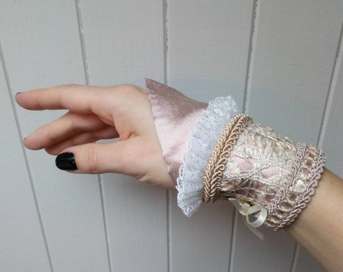 Pink fairy wrist cuff bracelet for shabby chic fantasy costume, Lace and silk blush pixie accessory for wedding, Elven princess jewelry rose