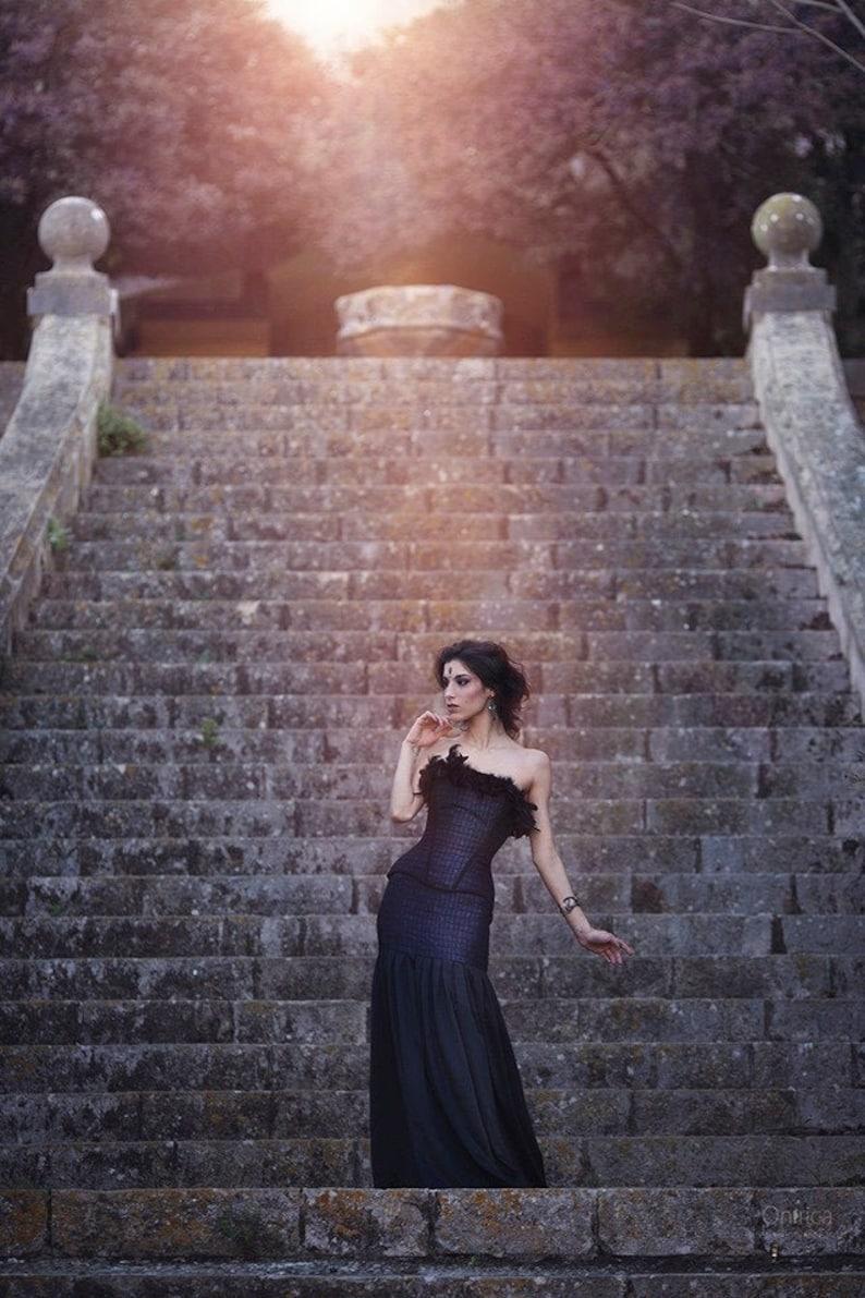 Gothic Wedding Dress Vampire Wedding Blue And Black Wedding Dress Black Feathers Corset Victorian Alternative Wedding Masquerade