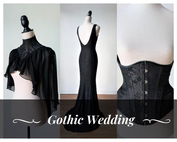 Black wedding dress with long mermaid wedding dress, brocade underbust corset and victorian capelet perfect for steampunk or gothic wedding