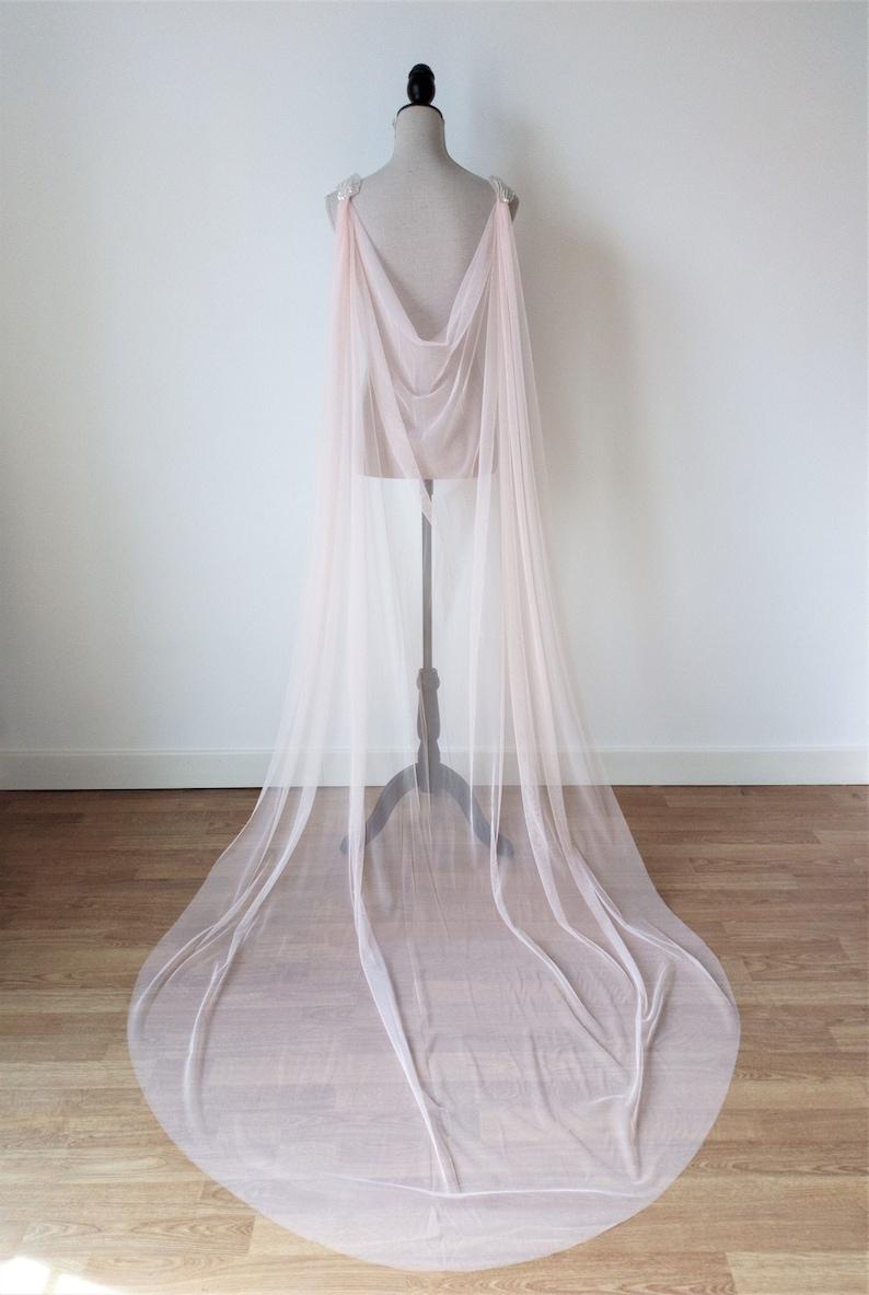 Pink Wedding Cape Veil Fantasy Fairy Wedding Cape Detachable Wedding Cape Pink Tulle Cape Rose Cape Veil Boho Blush Pink Wedding Cloak