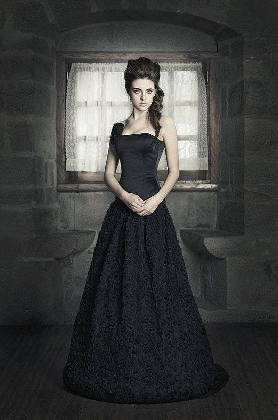 Gothic Wedding Dress Black Wedding Dress Fantasy Wedding Etsy