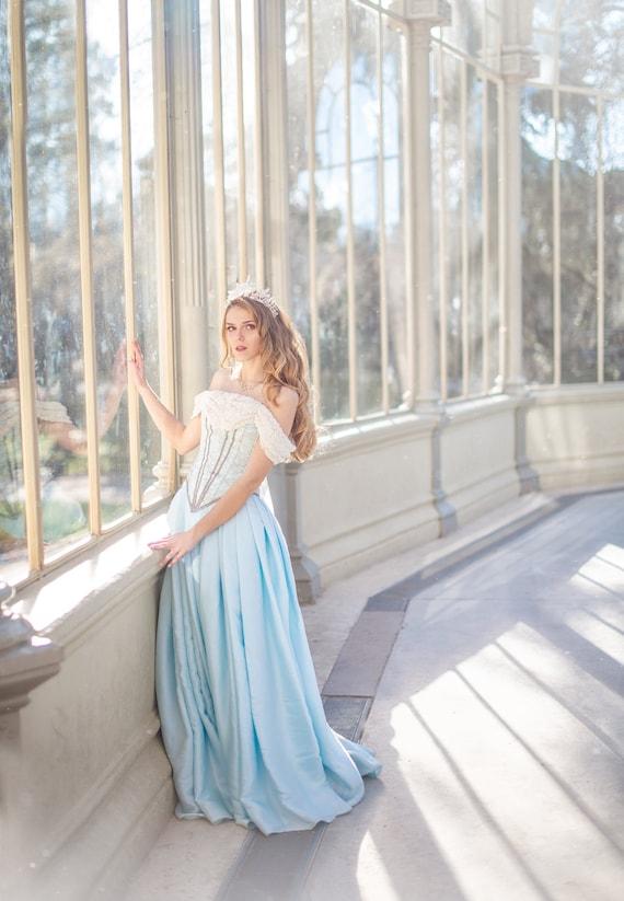 Blue Wedding Dress Fantasy Wedding Dress Wedding Corset Etsy