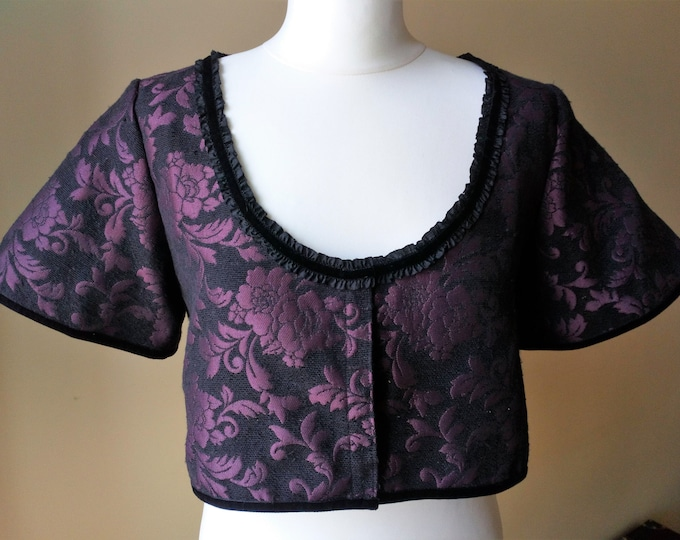 Purple brocade victorian jacket bolero for woman, Gothic regency maroon short coat cover up for winter, Burgundy and black steampunk jacket