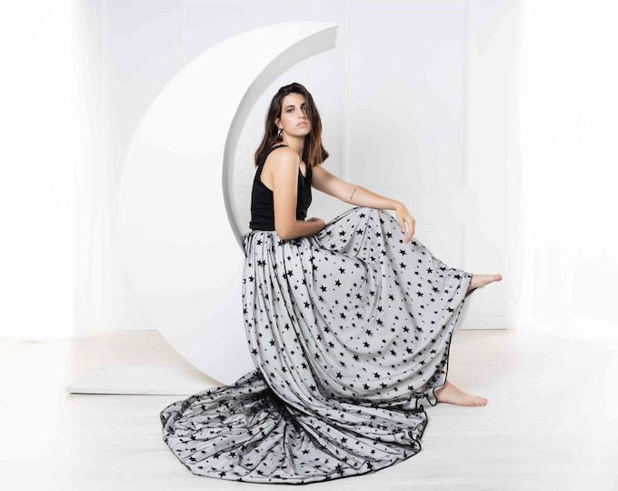 Celestial wedding dress, Black and white bridal dress, Dark boho wedding gown with stars, Witchy celestial dress for bride, Pagan witch boho