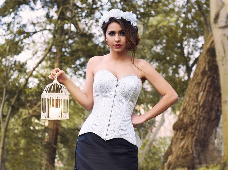 bd5ab6d426a Fantasy wedding corset - Silver brocade overbust corset - Steelboned  brocade corset - Elegant corset - Princess wedding corset