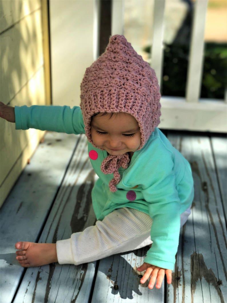 Baby Bonnet Baby Girl Hat Baby Shower Gift Crochet Hat Pink Hat Knit Bonnet Knit Hat Pink Bonnet Gift For Baby Girl Pink Baby Hat