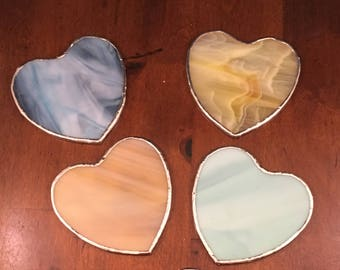 Glass Heart Coasters - Set of 4 - Stained Glass - Decorative Home Decor Kitchen Dining Living Bar