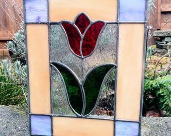 Spring Tulip Suncatcher - Handmade Stained Glass Panel Easter Garden Decoration Ornament