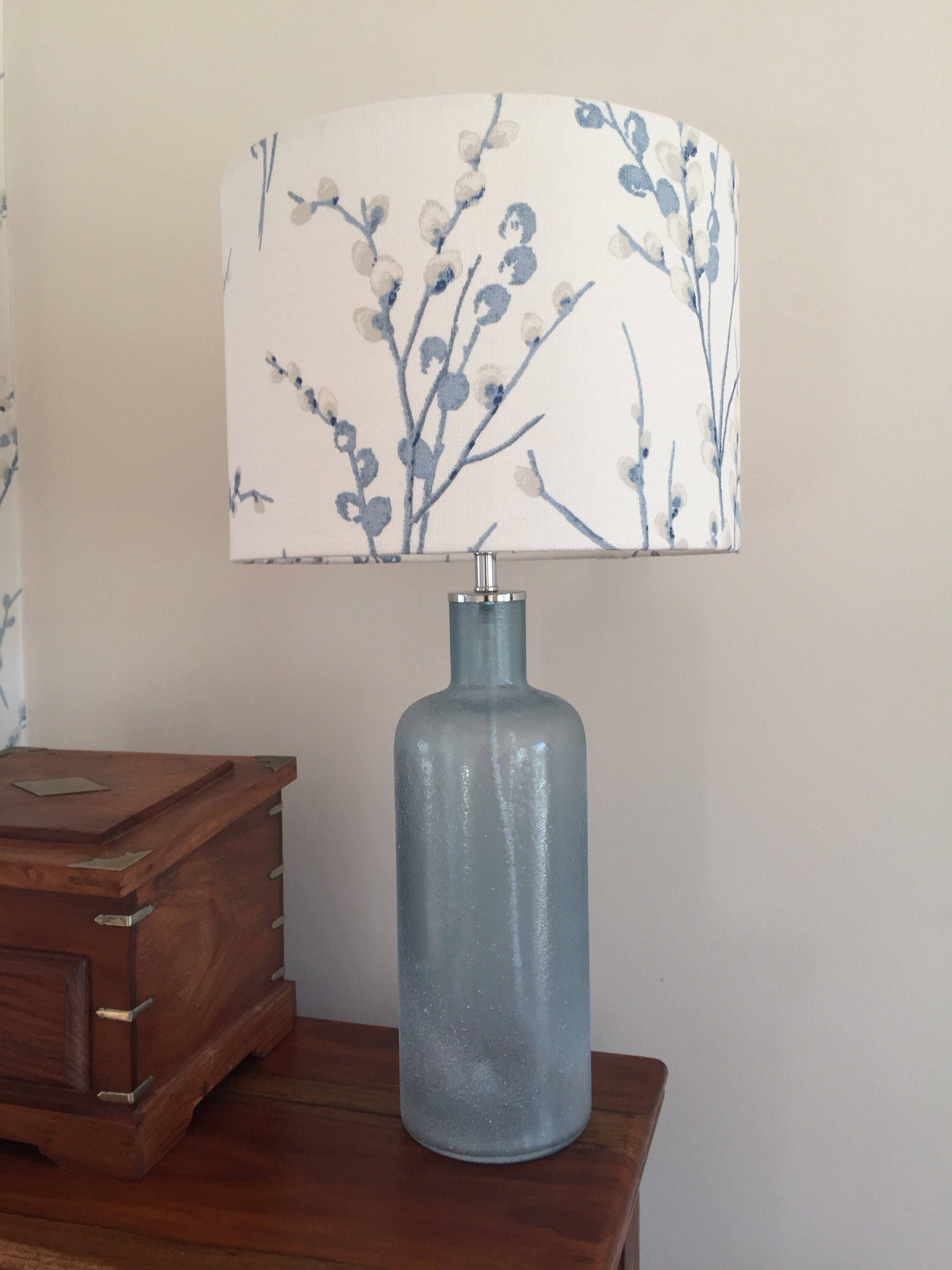 Lampshade Home Decor Table Lamp Floor Lighting Floral Shabby Chic Blue Laura Ashley Pussy Willow OW Seaspray