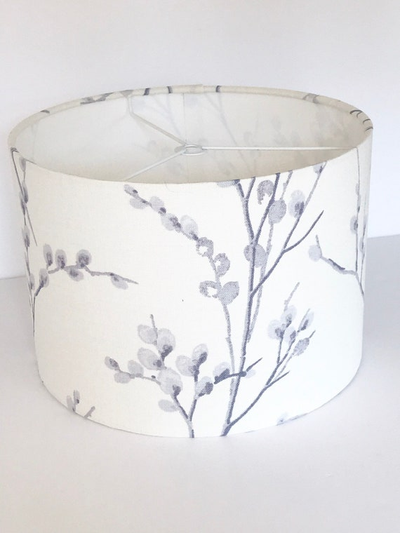 Blue Pussy Willow Floral Drum Lampshade Laura Ashley Off White Seaspray Fabric