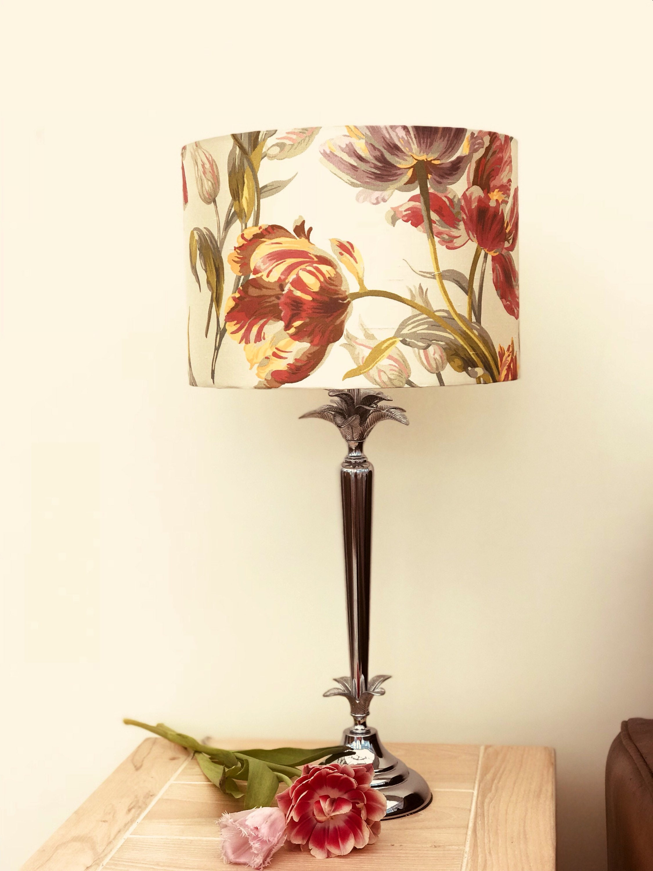 Lampshadehome Decortable Lampfloor Lamplightingdrum Lamp Shadefloralshabby Chiclaura Ashleyredtulipspendantgosford Silk