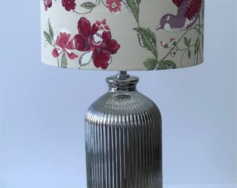Lampshade/Home Decor/Table Lamp/Floor Lamp/Lighting/Drum Lamp Shade/Shabby Chic/Floral/Birds/Red/Laura Ashley Summer Palace Cranberry