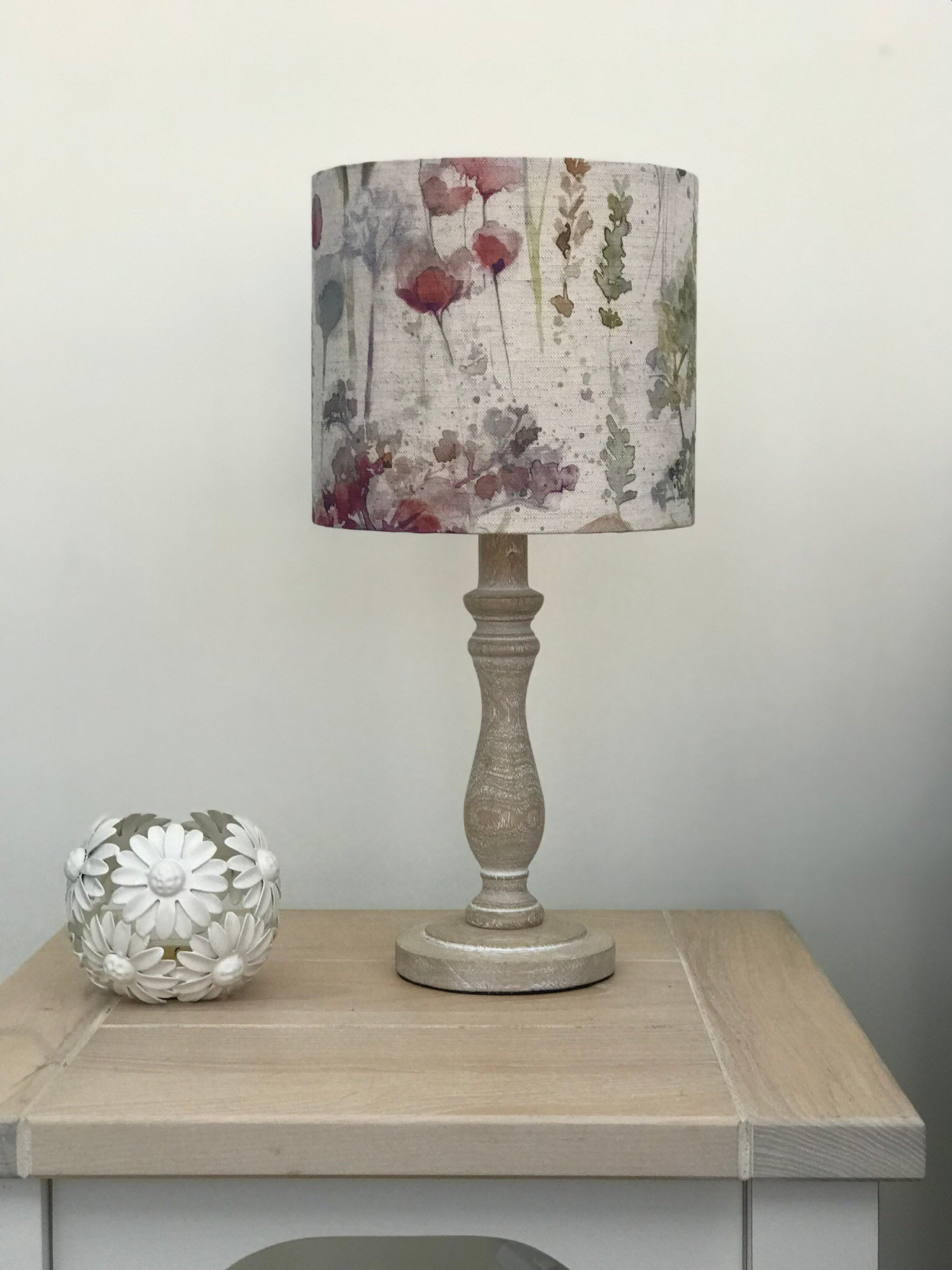 Voyage Ilinizas Poppy Natural Fabric Drum Lamp Shade For