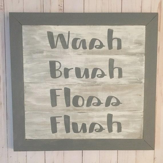 Salle de bain signe - décoration murale - lavage brosse soie flush ...