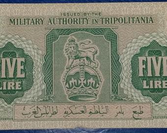 0c22dea2b4 Banknote 5 Lire Military Authority in Tripolitania