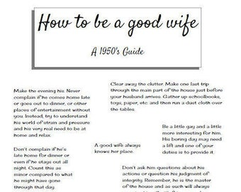 how to be a good wife a 1950s guide bridal shower game