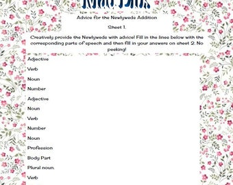 Mad Libs - Advice for the Newly Weds! Spring