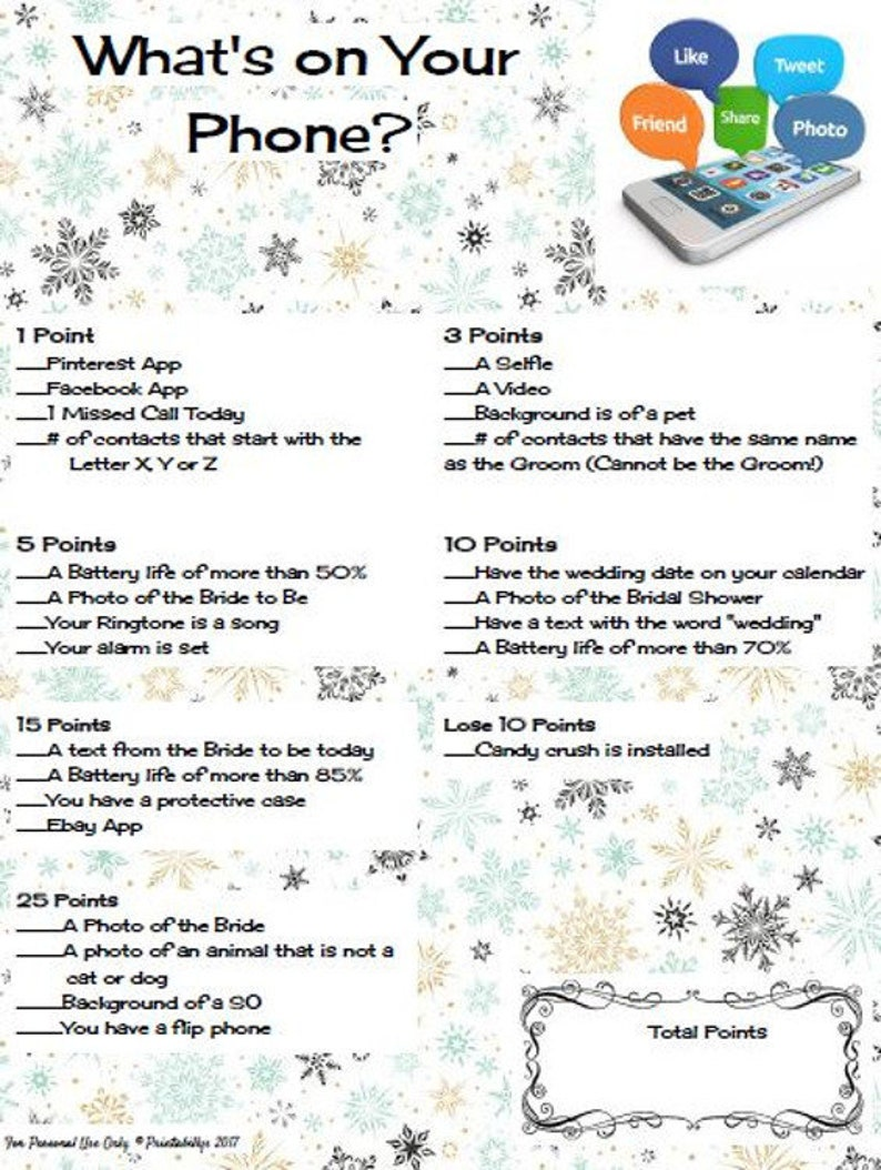 What's on Your Phone? Winter Theme Bridal Shower Game