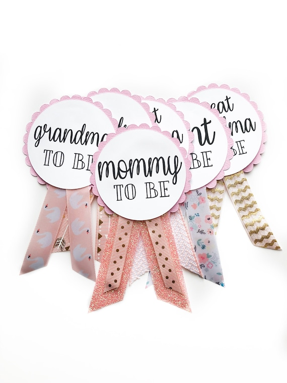 Pink Baby Shower Badges, Mom To Be, Gender Reveal, Badges, Pins, Name Tags  || Customizable!