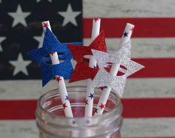 Fourth of July Party Straws, USA Party Straws || 12 Straws
