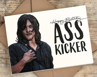 Alpha The Walking Dead hand painted greeting card one of a kind!