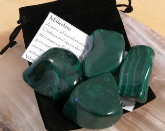 1 Large Malachite Tumbled Stone with description card and velvet pouch, Green and Black Banded Chakra Stone