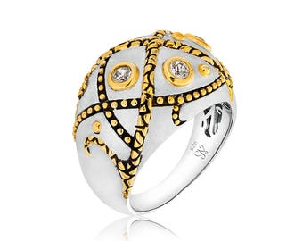 Sterling silver, 18K gold, white topaz dome ring, size 7