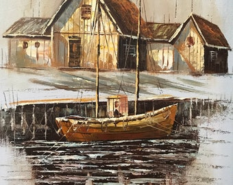 VINTAGE SEASCAPE OIL Painting- Original-Signed