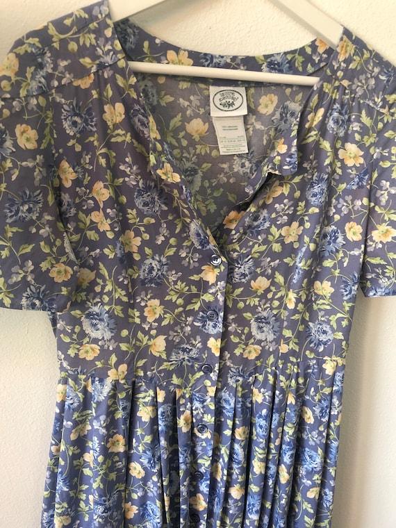 Vintage Laura Ashley Dress Floral Cotton Midi