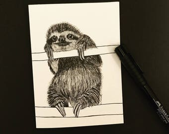 Greeting Card Flash-blank hand sketched sloth card