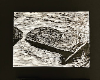 Greeting Card Notch-blank hand sketched beaver greeting card