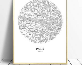 paris wall art, digital download, A4, map, art print