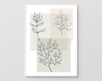Botanical Printable Wall Art, Abstract Botanical Print, Abstract Watercolor Prints, Modern Botanical Art, Neutral Wall Art, Boho Wall Decor.