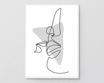 Couple Line Art Print, One Line Drawing, Single Line, Couples Gift, Minimalist Line Art, Above Bed Art, Kiss Printable, Bedroom Wall Art