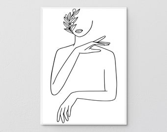 Printable Beauty Face In Flowers Art, Woman In One Line Drawing, Elegant Female Sketch Poster, Minimalist Girl Portrait Illustration Print.