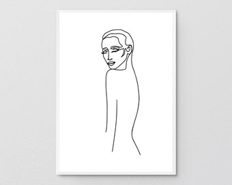 Abstract One-Line Female Figure From Back Printable, Minimalist Nude Woman Body Posture, Naked Sketch Prints, Illustration Poster Print.
