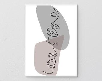 Kiss Printable,Lesbian Art Print,One Line Drawing Print, Black White Gray Art Poster,Minimalist Kissing Art, Minimal Line Art,Modern Prints.