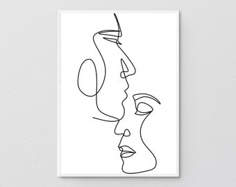 Abstract Love Line Art, Couple Kiss Wall Art, Line Drawing, Minimal Face Sketch, Face Outline Print, Modern Fine Art, Single Line, Beauty.