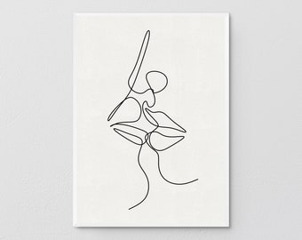 Human Intimacy, Man Woman Kissing, Romantic Line Drawing, Continuous Line Art, Romantic Concept, Minimalist Poster, Wall Decoration.