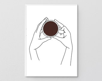 Coffee in Hands, One Line Art Print, Printable Coffee, Single Line Drawing, Wall Art, Hand poster, Coffee Lovers, Minimal Kitchen Decor.