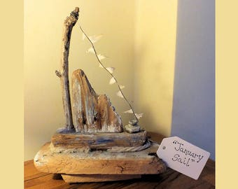 January Sail - Driftwood Sculpture - with metal parts - Sale