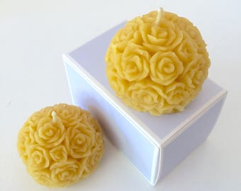 100% pure beeswax Rose Ball Candle